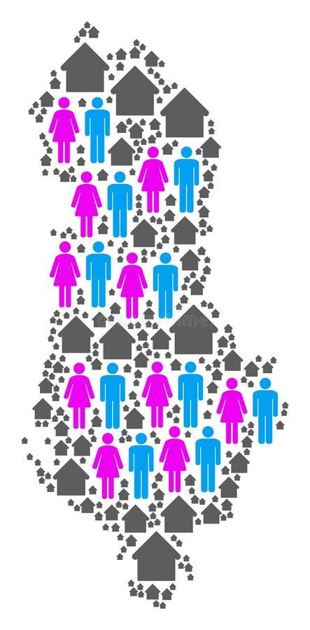 Mapa de Albania de la población ilustración del vector