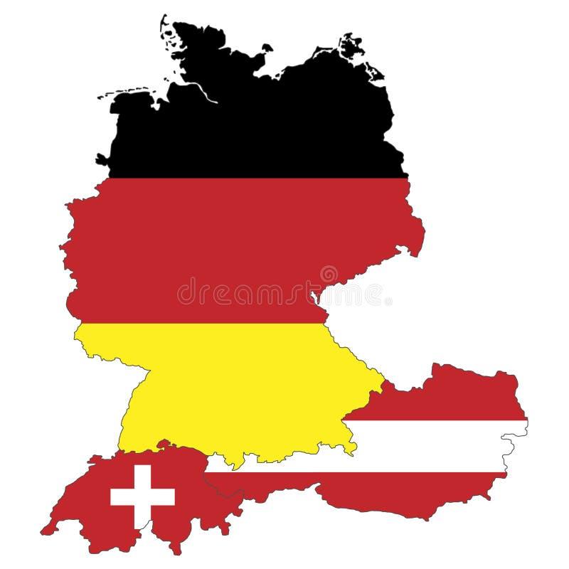 Mapa de Alemanha, de Áustria e de Suíça ilustração stock