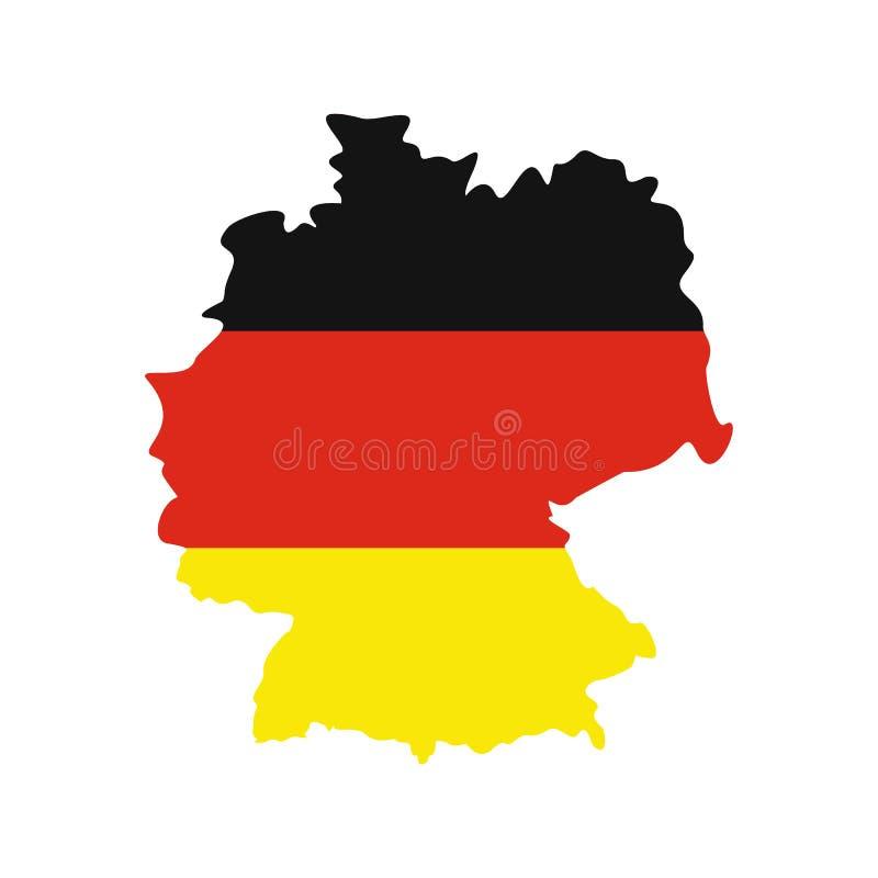 Mapa de Alemanha com a bandeira do ícone de Alemanha ilustração do vetor