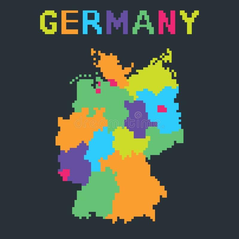 Mapa de Alemanha no estilo mordido 8 do pixel ilustração royalty free