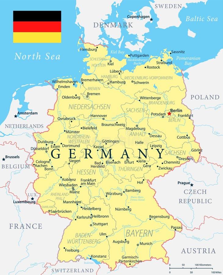 Mapa de Alemania - amarillo - ejemplo altamente detallado del vector stock de ilustración