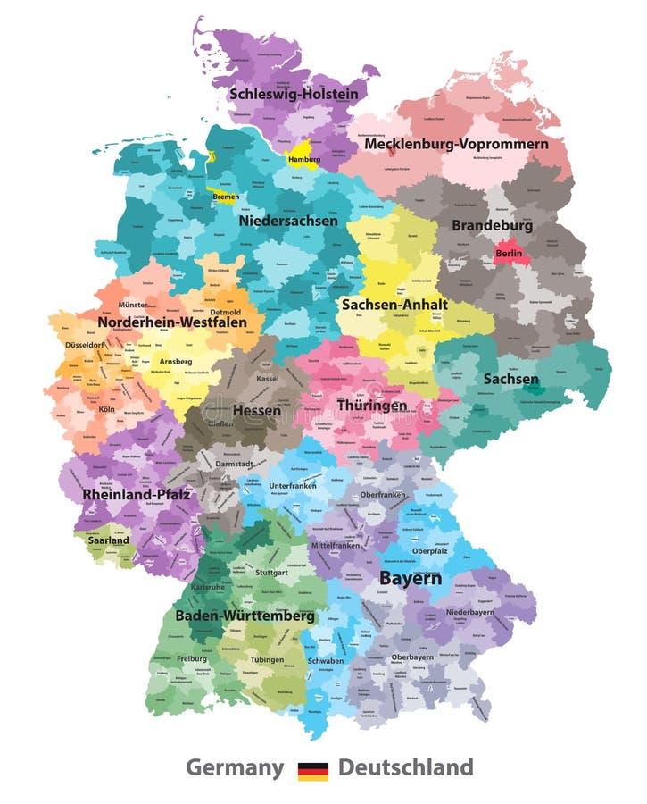 Mapa de Alemania coloreado por los estados y los distritos administrativos con subdivisiones stock de ilustración