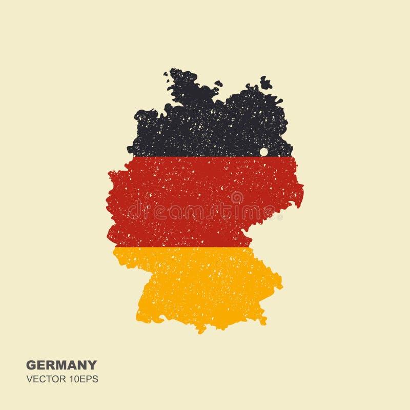Mapa de Alemania con el icono del vector de la bandera con efecto rascado ilustración del vector