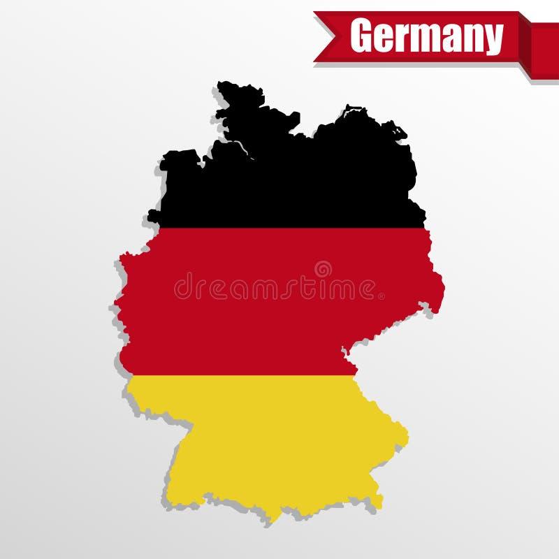 Mapa de Alemania con la bandera de Alemania interior y la cinta ilustración del vector