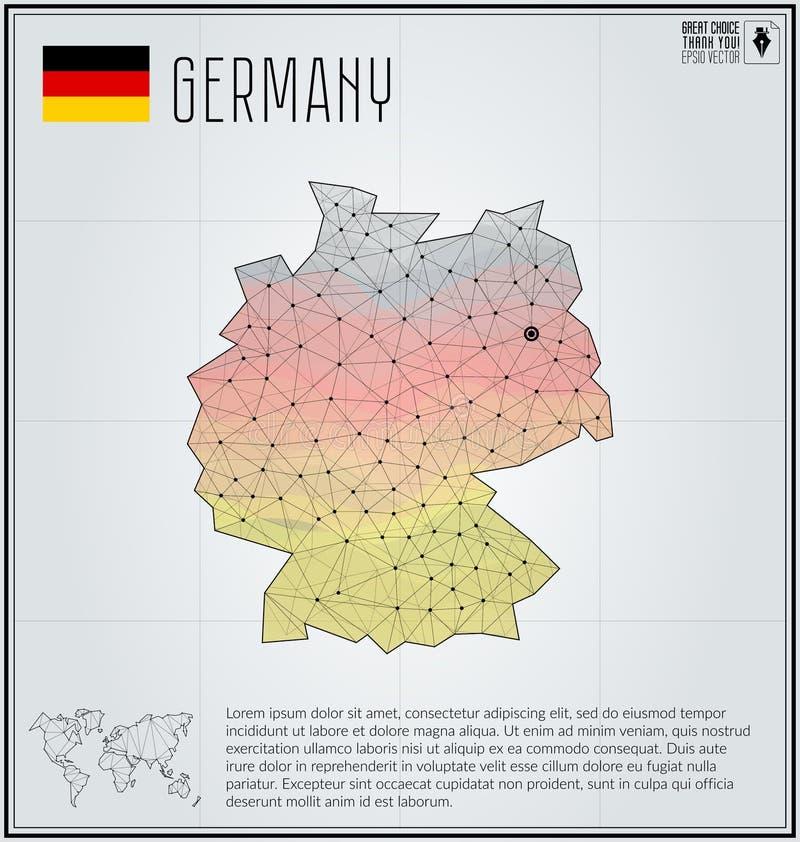 Mapa de Alemania en estilo poligonal geométrico Mapa del mundo abstracto poligonal ilustración del vector