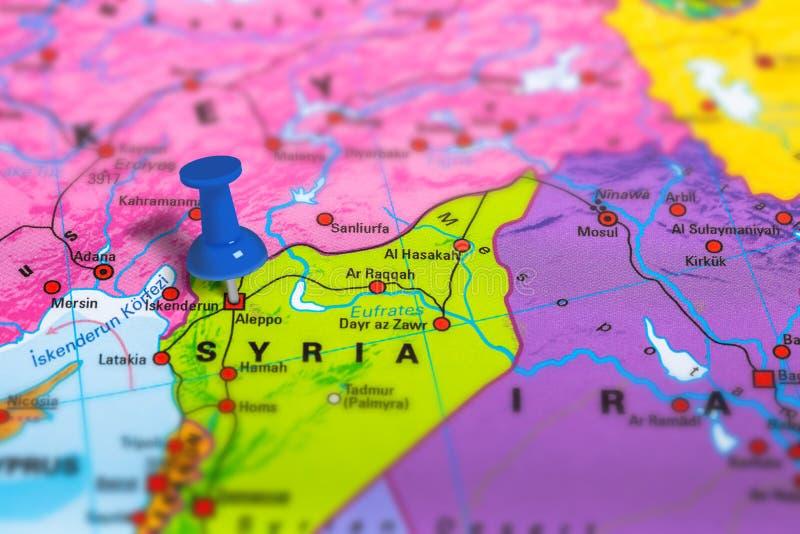 Mapa de Aleppo Síria fotografia de stock
