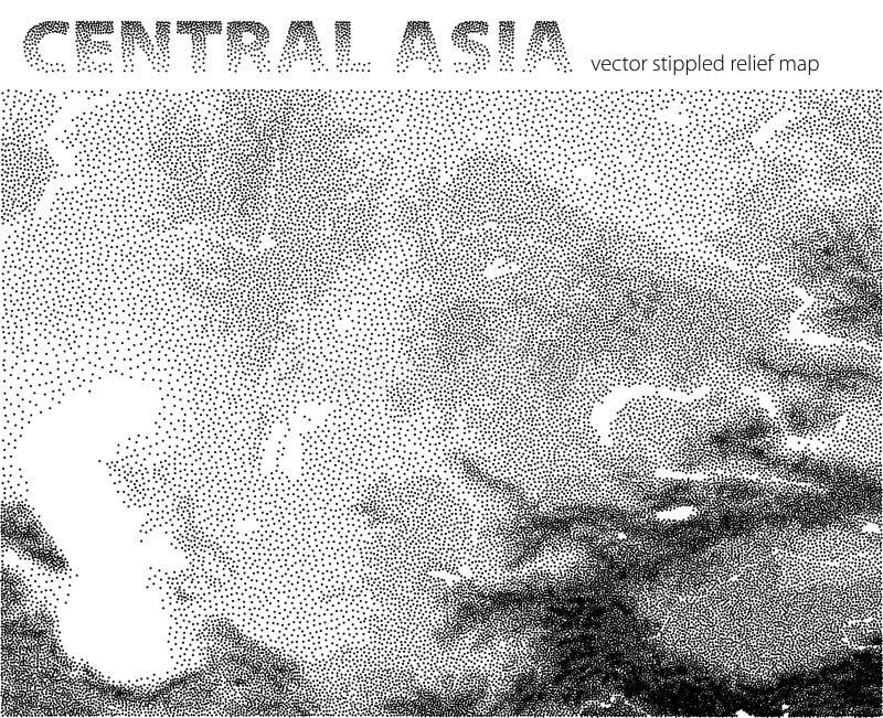 Mapa de alivio punteado vector de Asia Central stock de ilustración