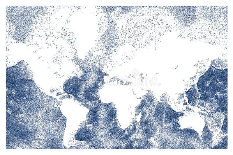Mapa de alivio punteado vector del océano del mundo stock de ilustración
