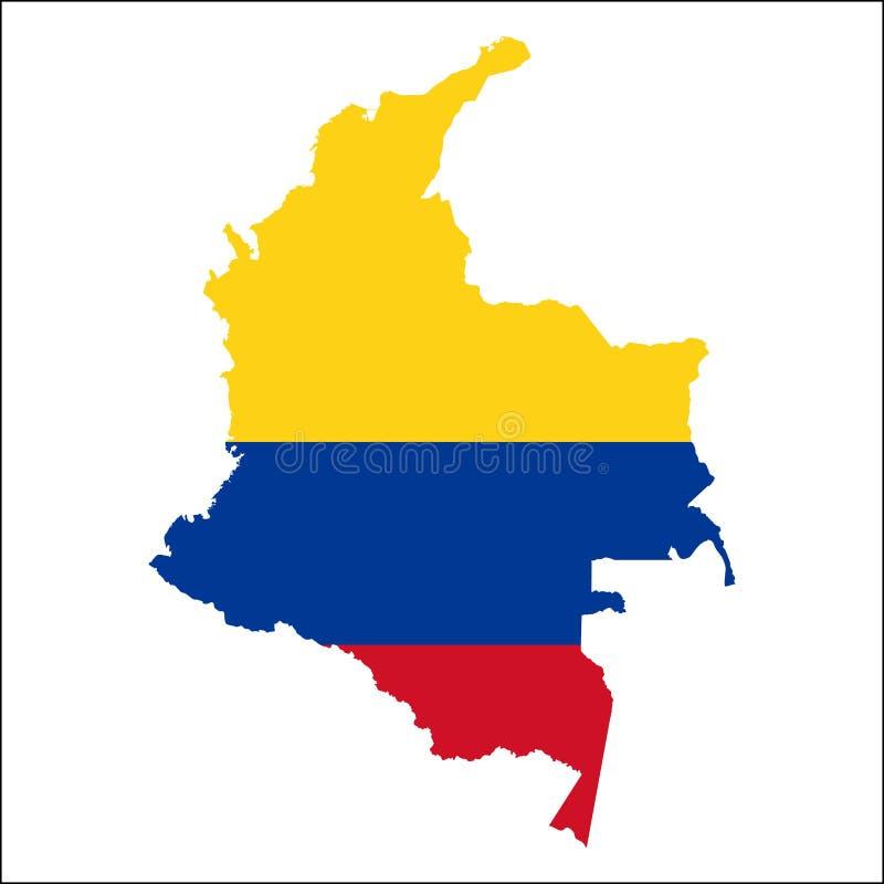 Mapa de alta resolução de Colômbia com bandeira nacional ilustração do vetor
