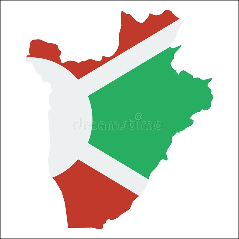 Mapa de alta resolución de Burundi con la bandera nacional ilustración del vector