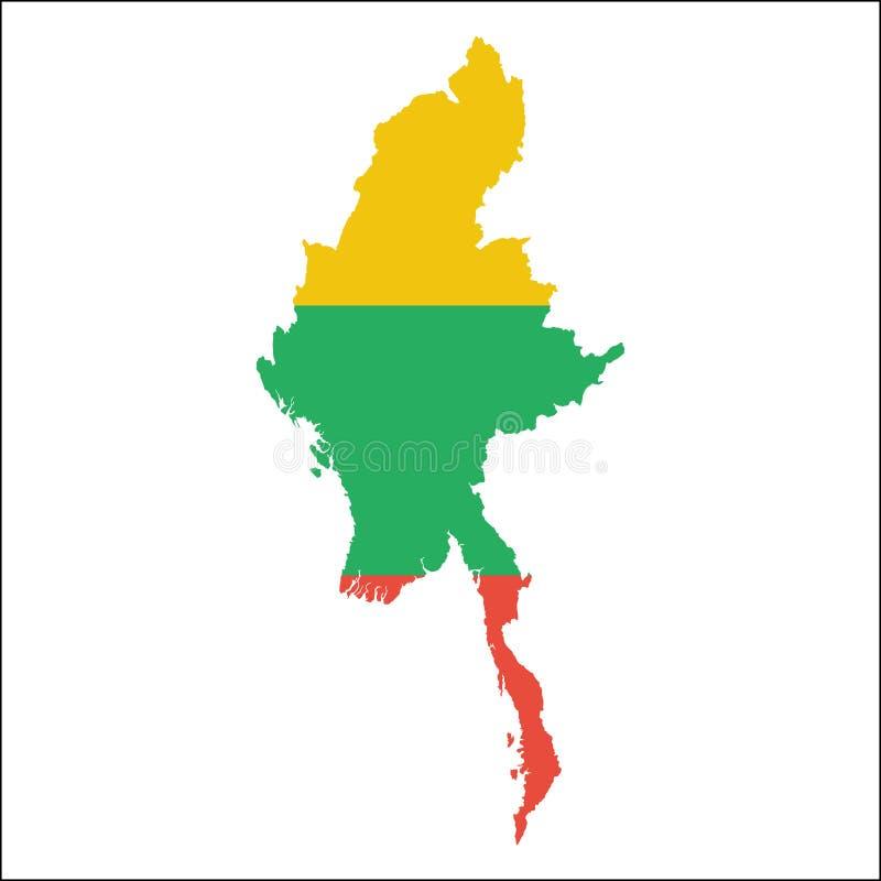Mapa de alta resolución de Myanmar con la bandera nacional libre illustration