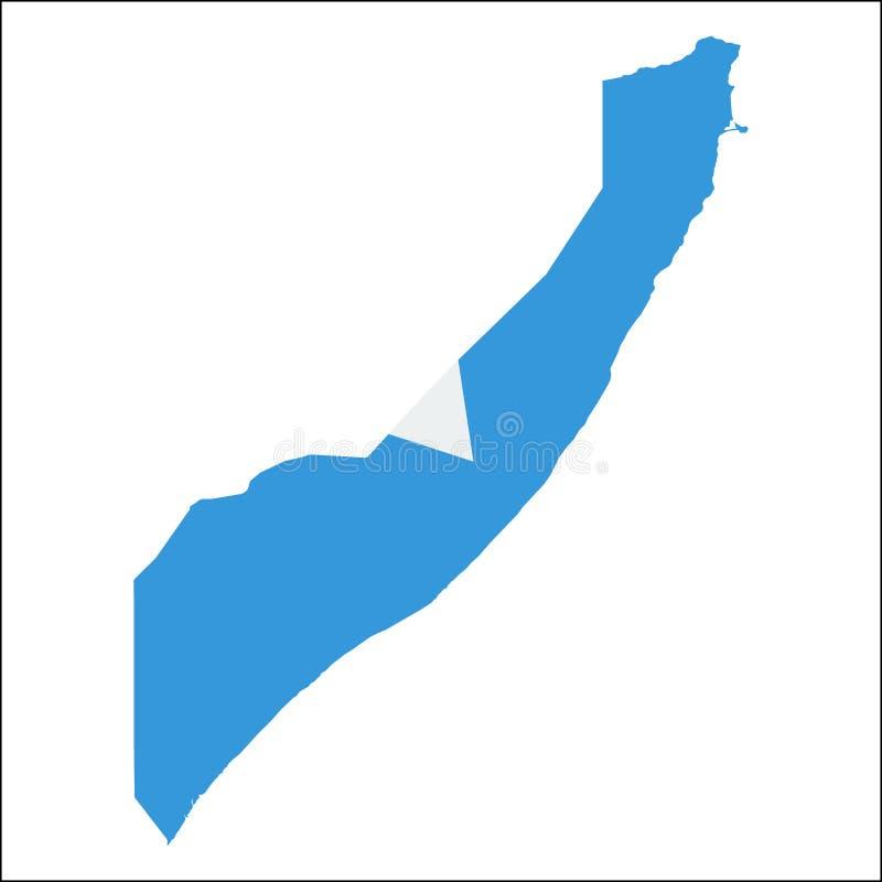 Mapa de alta resolución de Somalia con la bandera nacional ilustración del vector