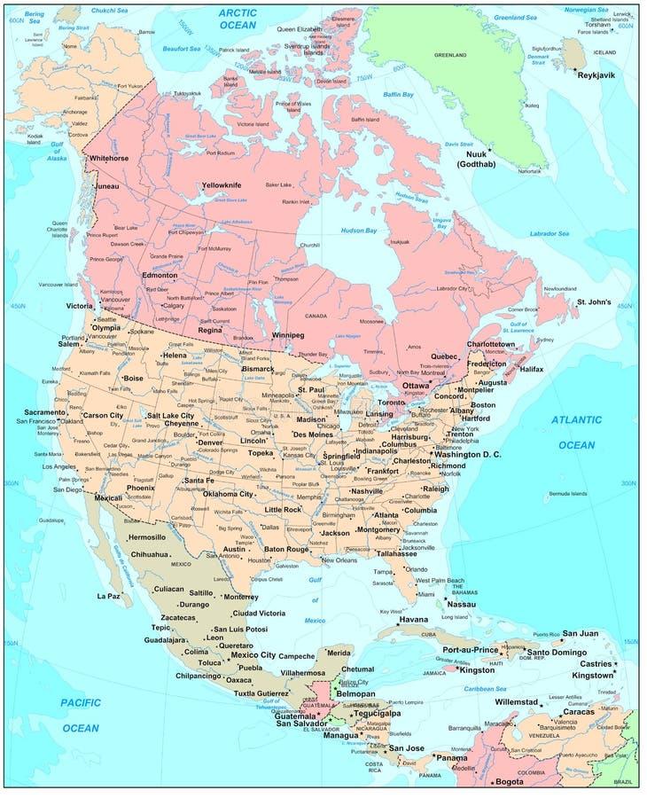 Mapa de America do Norte ilustração stock