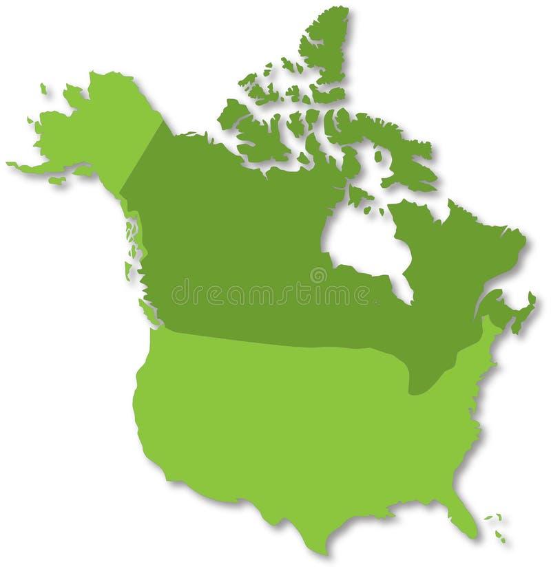 Mapa de America do Norte ilustração royalty free