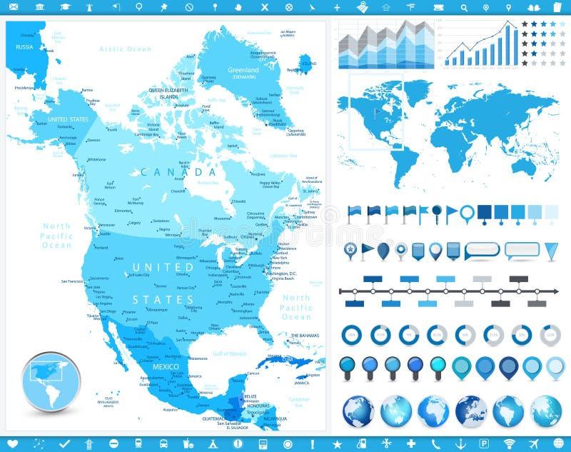 Mapa de America do Norte e elementos infographic ilustração royalty free