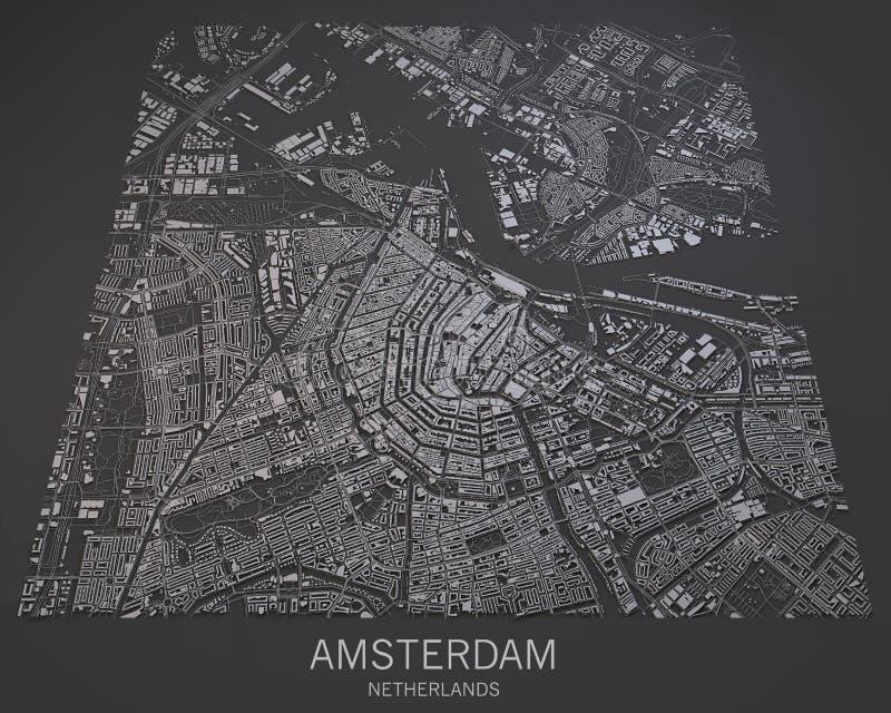 Mapa de Amsterdam, visión por satélite, mapa en negativo, Países Bajos stock de ilustración