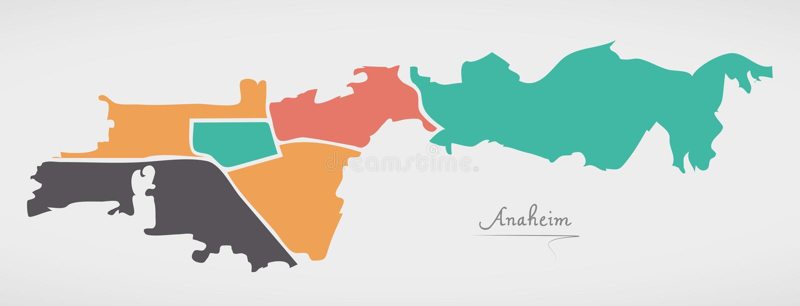 Mapa de Anaheim California con las vecindades y la forma redonda moderna ilustración del vector