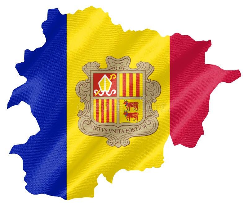 Mapa de Andorra com bandeira ilustração royalty free