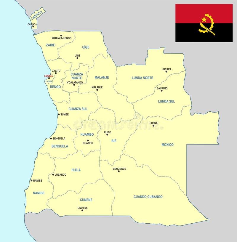 Mapa de Angola ilustração stock