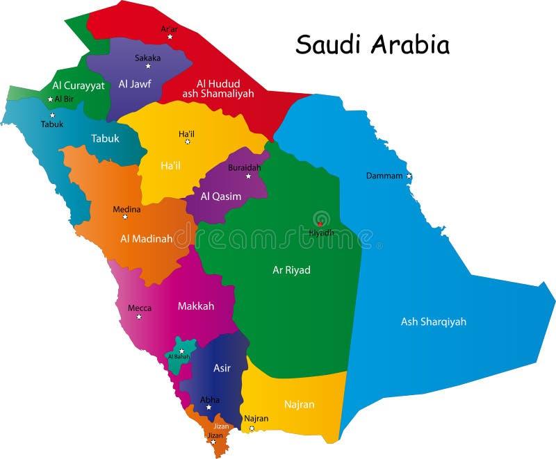 Mapa de Arábia Saudita ilustração royalty free