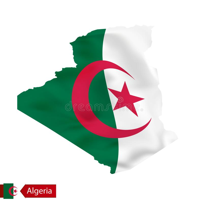 Mapa de Argélia com a bandeira de ondulação do país ilustração royalty free