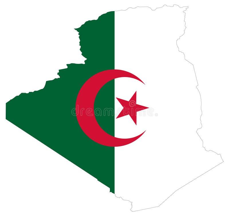 Mapa de Argélia e bandeira - país no Maghreb ilustração do vetor