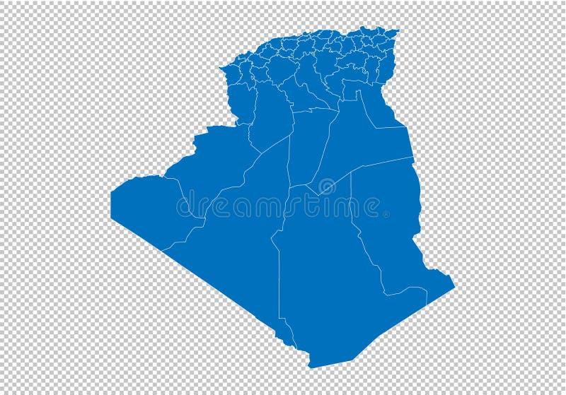 Mapa de Argelia - mapa azul detallado del alto con los condados/las regiones/los estados de Argelia mapa de Argelia aislado en fo stock de ilustración