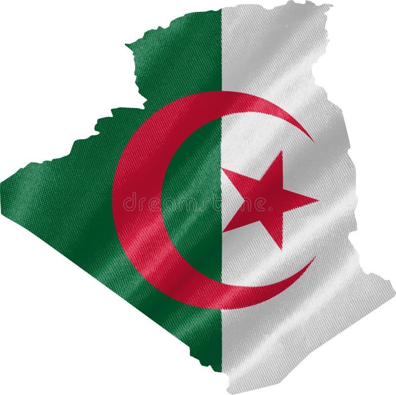 Mapa de Argelia con la bandera stock de ilustración