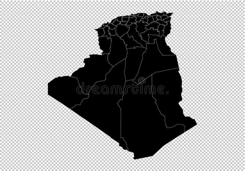 Mapa de Argelia - mapa negro detallado del alto con los condados/las regiones/los estados de Argelia Mapa de Afganistán aislado e stock de ilustración