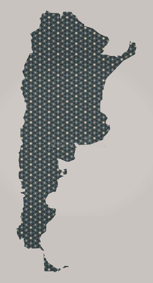 Mapa de Argentina com as estrelas e os ornamento que incluem beiras do país ilustração stock