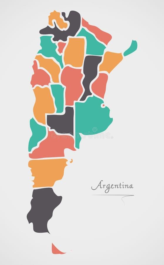 Mapa de Argentina com estados e formas redondas modernas ilustração stock