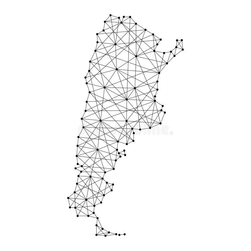 Mapa de Argentina das linhas pretas poligonais, pontos da ilustração do vetor ilustração stock