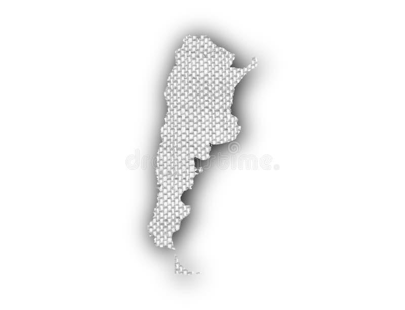 Mapa de Argentina no linho velho ilustração do vetor