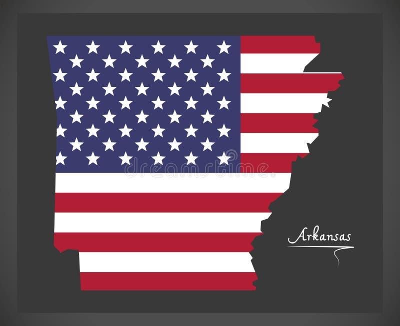 Mapa de Arkansas con el ejemplo americano de la bandera nacional stock de ilustración