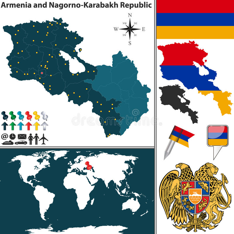 Mapa de Armênia e de Nagorno Karabakh ilustração do vetor