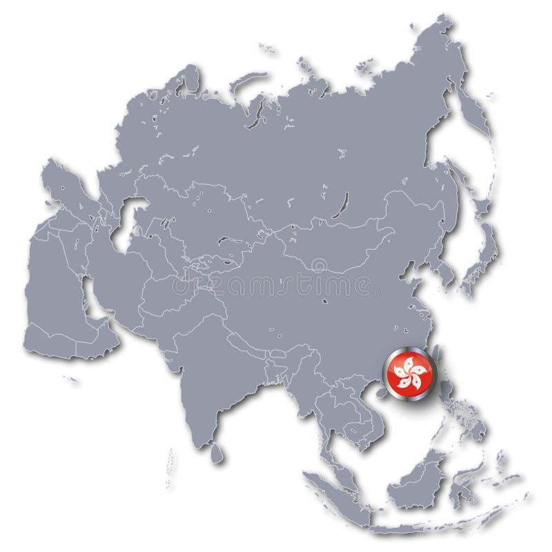 Mapa de Asia con Hong Kong ilustración del vector