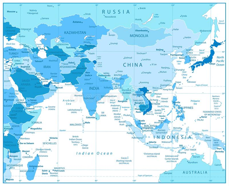 Mapa de Asia del Sur en colores del azul stock de ilustración