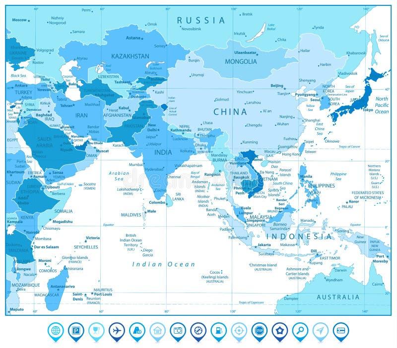 Mapa de Asia del Sur y marcadores del mapa en colores del azul libre illustration