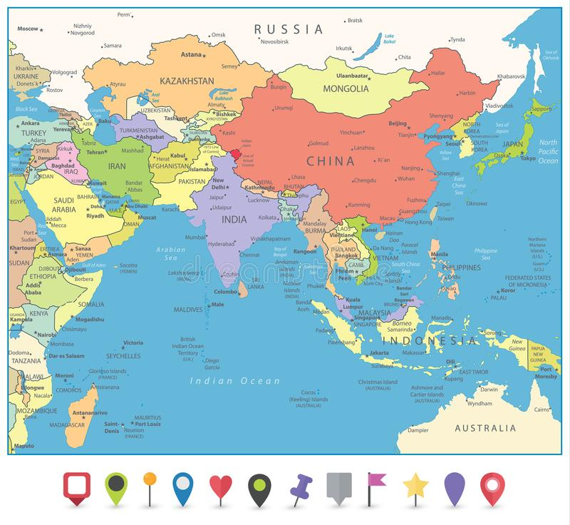 Mapa de Asia del Sur y marcadores planos del mapa ilustración del vector