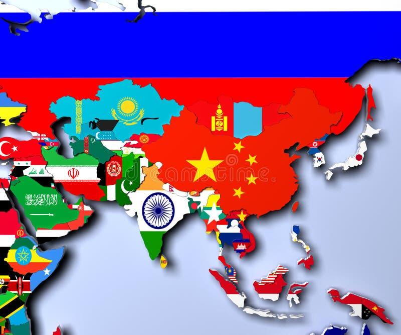 Mapa de Asia - ejemplo altamente detallado 3d stock de ilustración