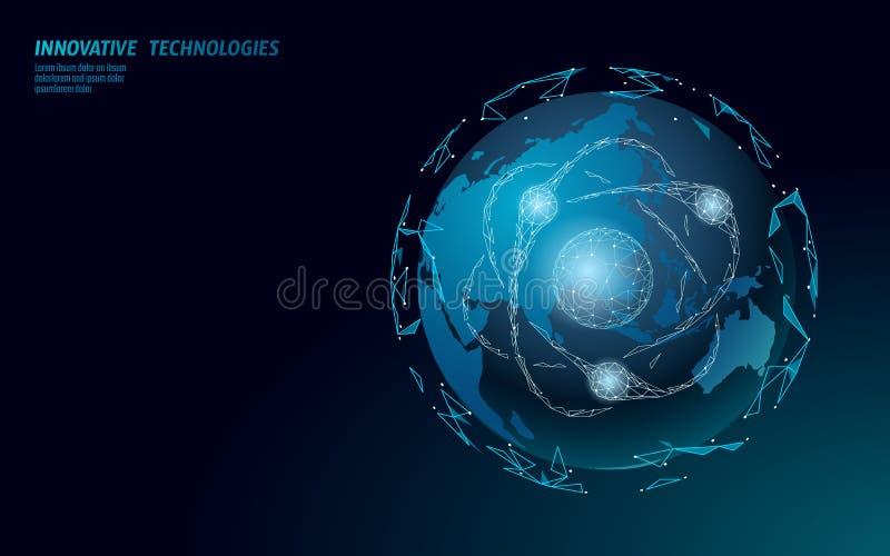 Mapa de Asia de la muestra de la partícula del átomo Peligro global de las armas militares nucleares País de China Corea Japón de libre illustration