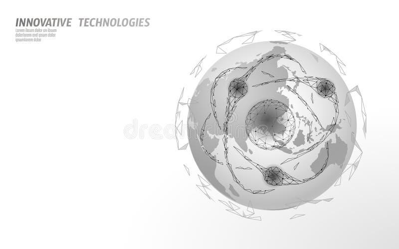 Mapa de Asia de la muestra de la partícula del átomo Peligro global de las armas militares nucleares País de China Corea Japón de stock de ilustración