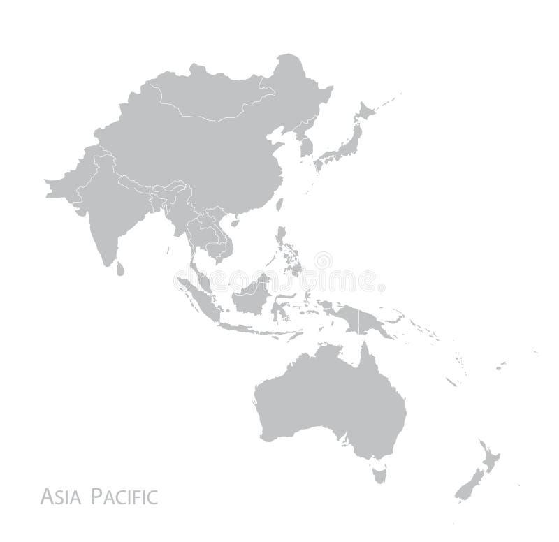 Mapa de Asia Pacific ilustração do vetor