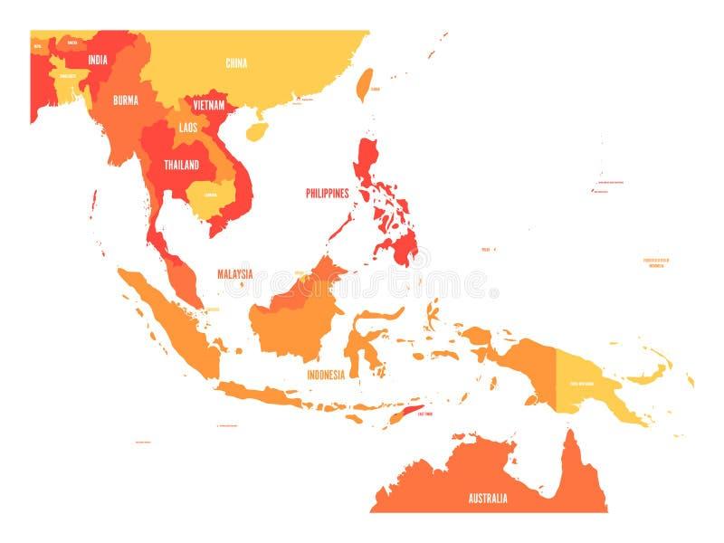 Mapa de Asia sudoriental Mapa del vector en sombras de la naranja ilustración del vector