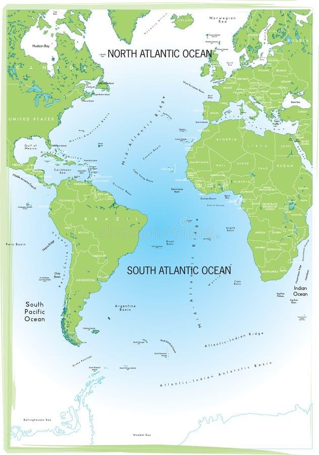 Mapa de Atlântico do oceano. ilustração do vetor