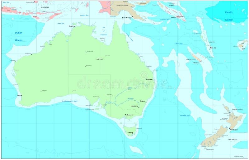 Mapa de Austrália ilustração do vetor