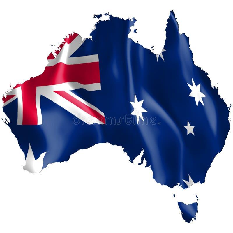 Mapa de Austrália com bandeira de ondulação ilustração do vetor