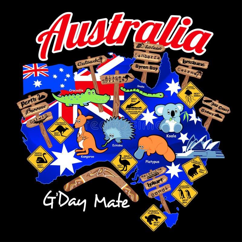 Mapa de Austrália com bandeira e ícones da nação ilustração royalty free