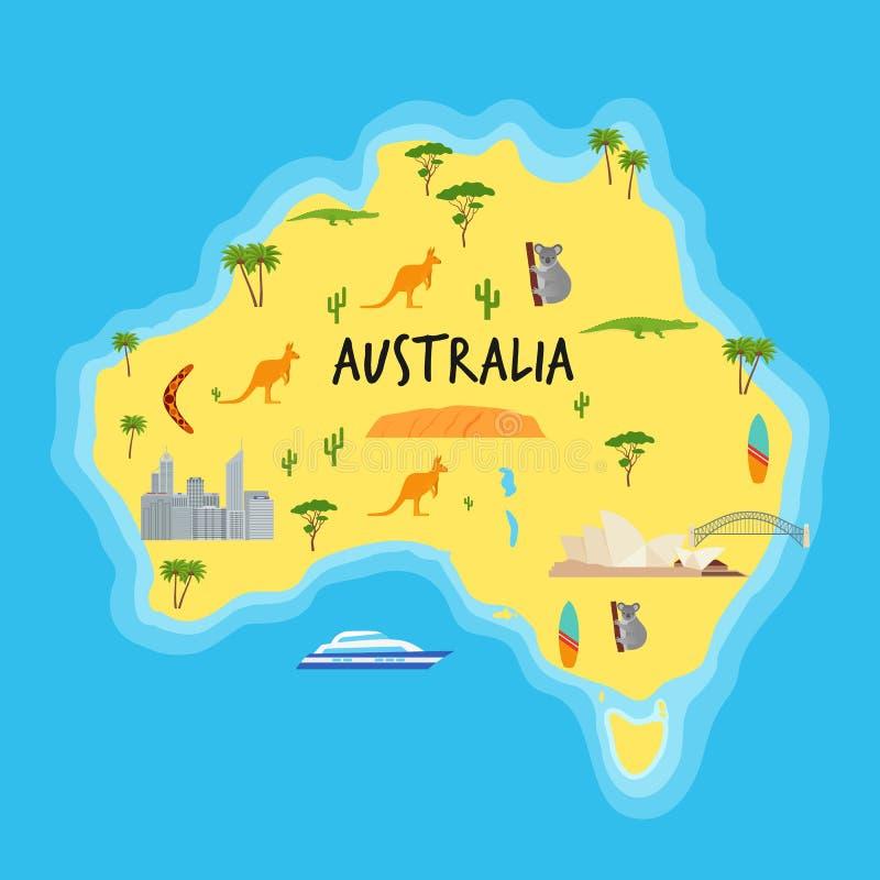 Mapa de Austrália dos desenhos animados Ilustração do vetor Estado australiano com ícones ilustração do vetor