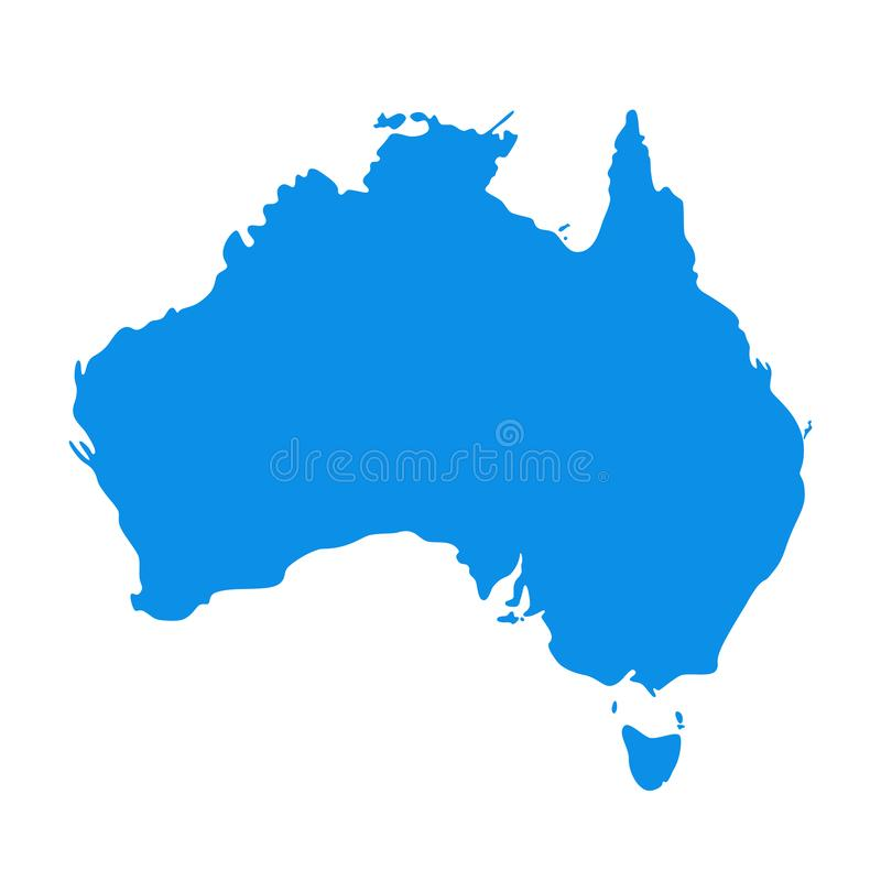Mapa de Austrália Ilustração do vetor Continente australiano da silhueta ilustração royalty free